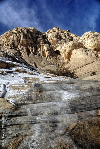 Foto op Plexiglas Beige Ice and Snow on the White Sandstone of Snow Canyon Utah State Park