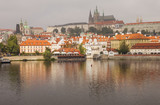 Prague Castle, the Vltava River and the historic center of Prague in the autumn morning. Prague, Czech Republic