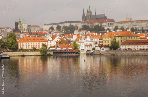 Prague Castle, the Vltava River and the historic center of Prague in the autumn morning Poster