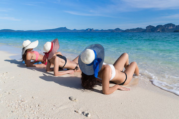 Girl Group On Beach Summer Vacation, Young Woman Back Rear View Sit On Sand Sea Ocean Holiday Travel