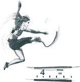 Athletics - LONG JUMP.From the series SILENT HEROES- Athletes with physical disabilities.Hand drawn vector.- - Note - Any accurate photo original for this picture, original is created by me- - - 171495613