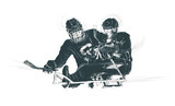 Sport, ICE HOCKEY. From the series SILENT HEROES - Athletes with physical disabilities. An hand drawn vector. - - - Note - Any accurate photo original for this picture, original is created by me - - - - 171495806