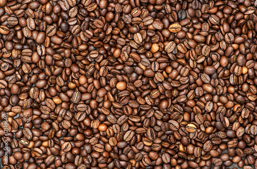 Poster Coffee background texture. Brown beans