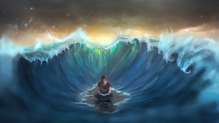 Woman reading and surrounded by waves © Kevin Carden
