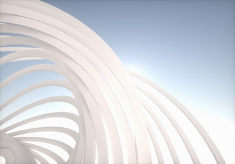 Conceptual Modern Architecture. Abstract Outdoor Structures.
