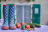 A table full of vegetables and a  pair of spotty wellie boots