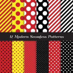 Polka Dots and Diagonal Stripes Seamless Vector Patterns in Red, Black, White and Yellow. Perfect for kids Pirate birthday party background. Pattern Tile Swatches Included.