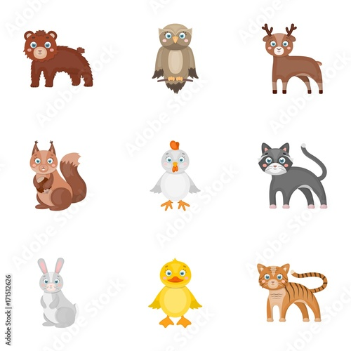 Keuken foto achterwand Uilen cartoon Zoo, toys, hunting and other web icon in cartoon style.Forest, nature, farm, icons in set collection.