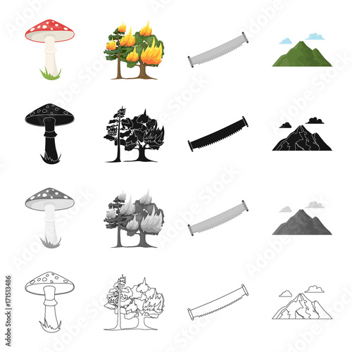 Amanita, forest fire, hand saw on wood, mountain with clouds. Forest set collection icons in cartoon black monochrome outline style vector symbol stock illustration web.