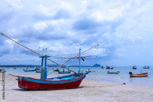 Fotobehang Thailand beach Bang Boet Beach with small boat the rain
