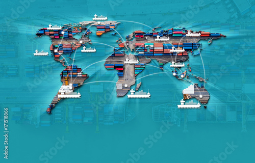 Leinwanddruck Bild Container ship in import export and business logistic,By crane,Trade Port, Shipping cargo to harbor, Aerial view from drone, International transportation, Business logistics concept