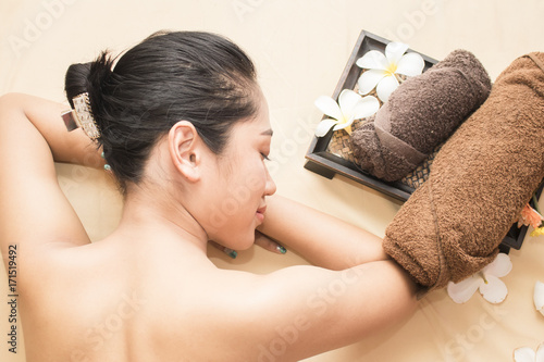 Aluminium Spa asian woman at the spa salon