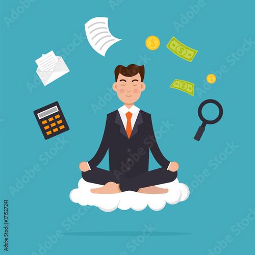 Office worker  meditating, sitting in lotus pose.  Businessman meditation and  multitasking concept. Vector illustration.