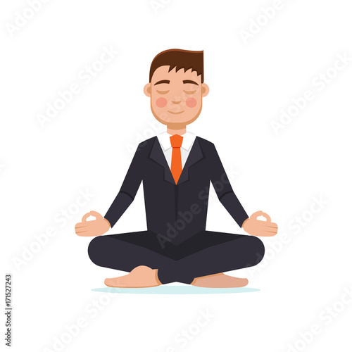Poster Office worker  meditating, sitting in lotus pose.  Businessman meditation concept. Vector illustration.
