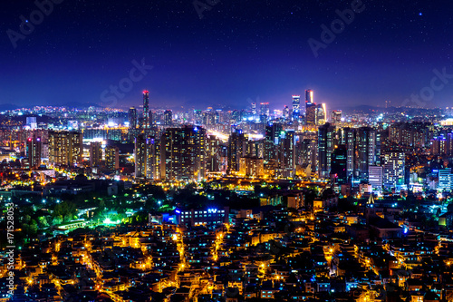 Cityscape at night in Seoul, South Korea. Poster