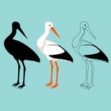 stork  vector illustration style flat  black silhouette