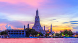 Wat Arun or Temple of Dawn and Chaopraya river in Bangkok City at twilight, Bangkok, Thailand.