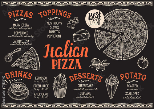 Pizza menu restaurant, food template. - 171531402
