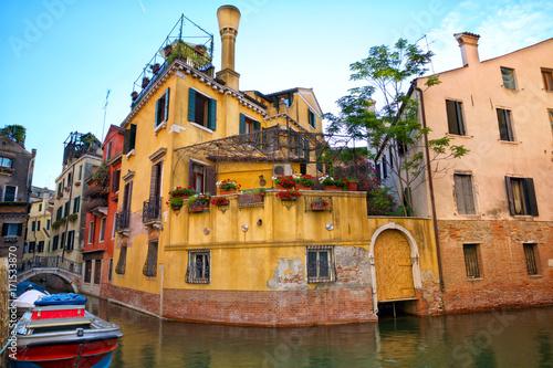 Foto op Plexiglas Venetie Traditional canal street in Venice, Italy