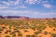 Monument Valley in Utah, USA. Desert under the blue sky