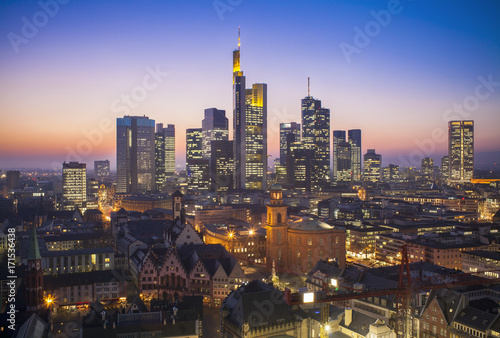 Frankfurt am Main cityscape at night, aerial view
