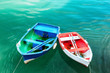Vibrant small boats in Cantabria with copy space