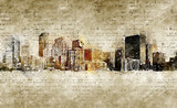 skyline of denver in modern and abstract vintage look - 171537644