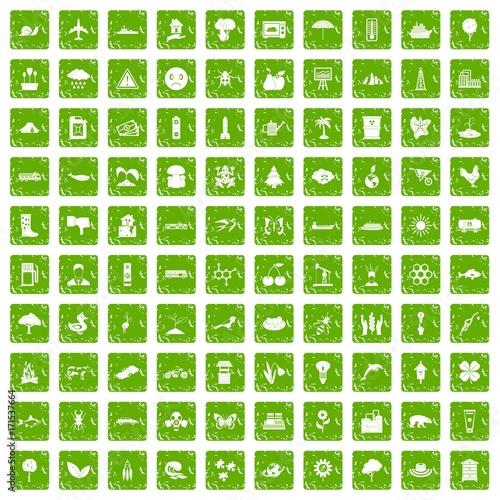 Keuken foto achterwand Vlinders in Grunge 100 global warming icons set grunge green