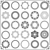 Vintage set of vector round elements. Different elements for decoration and design frames, cards, menus, backgrounds and monograms. Classic patterns. Set of vintage patterns - 171543874