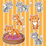 Sticker set with cute cats on yellow background - 171544094
