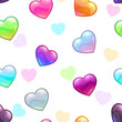 Seamless pattern with colorful glossy hearts - 171545488