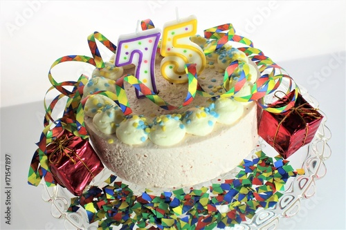 An image of a birthday cake - 75 birthday Poster