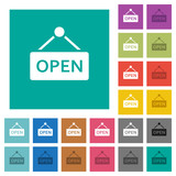 Open sign square flat multi colored icons - 171549437
