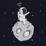 astronaut calls by mobile phone © Dimonika