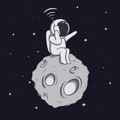 astronaut calls by mobile phone