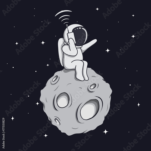 astronaut calls by mobile phone - 171550829