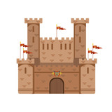 Ancient castle with red flags, medieval architecture building vector Illustration - 171556683