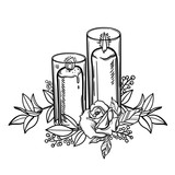 Vintage burning candle and rose flower. Romantic tattoo. Esoteric candle. Vector - 171561025