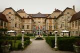 European mansions backyard park with fountain. Statenberg, Slovenia - 171561293