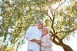 happy senior couple kissing at summer park