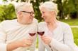 happy senior couple drinking wine at summer park