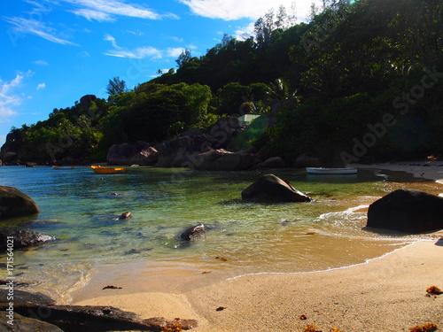 Fotobehang Tropical strand seychelles