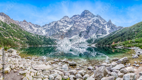 Fototapety, obrazy : Morskie oko, góra, jezioro. Panorama