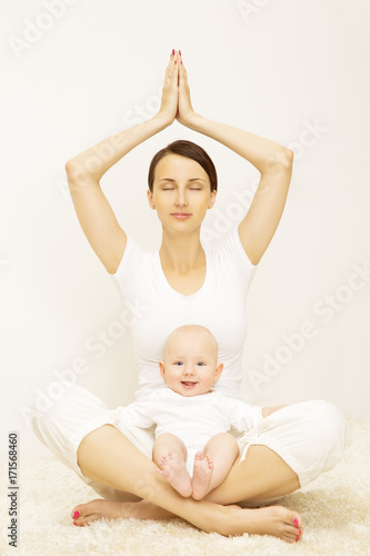 Poster Yoga Baby and Mother, Sport Exercise for Child and Mom, Healthy Fitness for Family with Kids