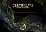 Certificate, Diploma of completion (black design template, background) with colorful guilloche pattern (watermark, lines) - 171572285