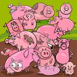 cartoon pigs farm animals group