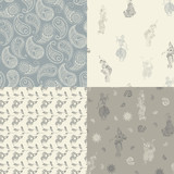 4 seamless patterns with oriental patterns: dancers, butts, flowers.
