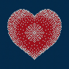 Winter Holiday Knitted Sweater Design with Snowflake in the Heart Shape. Knitted Pattern. Wool Knitting Texture Imitation