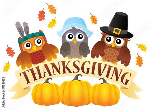 Fotobehang Uilen cartoon Thanksgiving owls thematic image 7