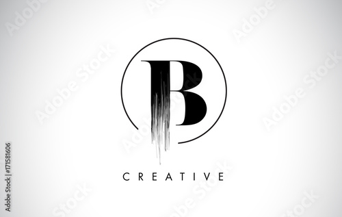 Fototapeta B Brush Stroke Letter Logo Design. Black Paint Logo Leters Icon.